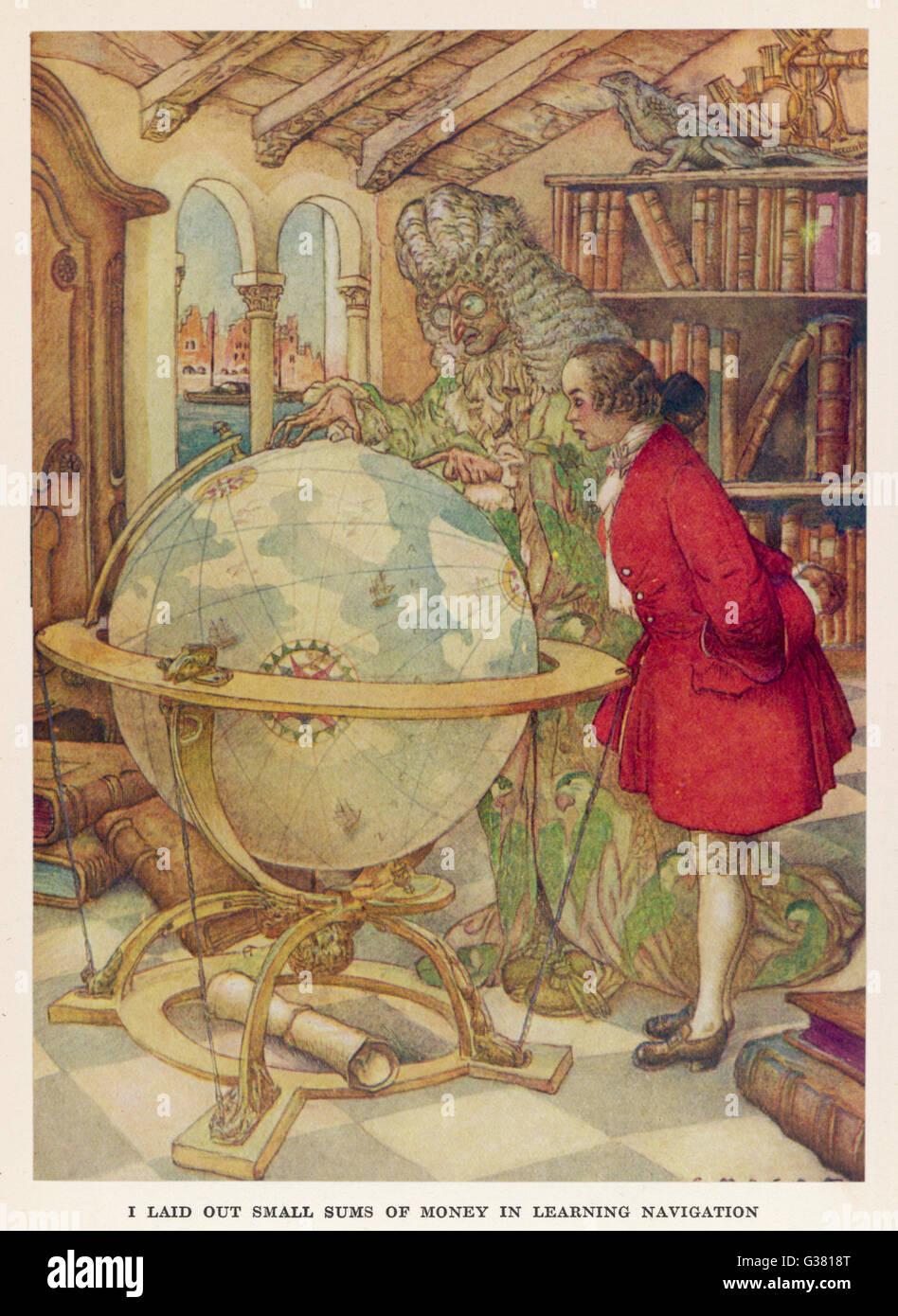 Studi di Gulliver di navigazione. Data: primo pubblicato: 1726 Immagini Stock