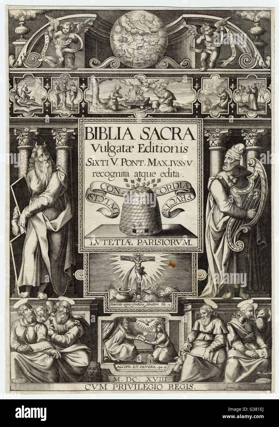 La pagina del titolo della Biblia Vulgata (stampato in latino) Data: circa 1590 Immagini Stock