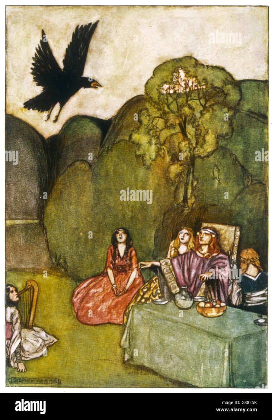 Il corvo di mal omen proviene da Cuchulain (Cu Chulainn) Immagini Stock