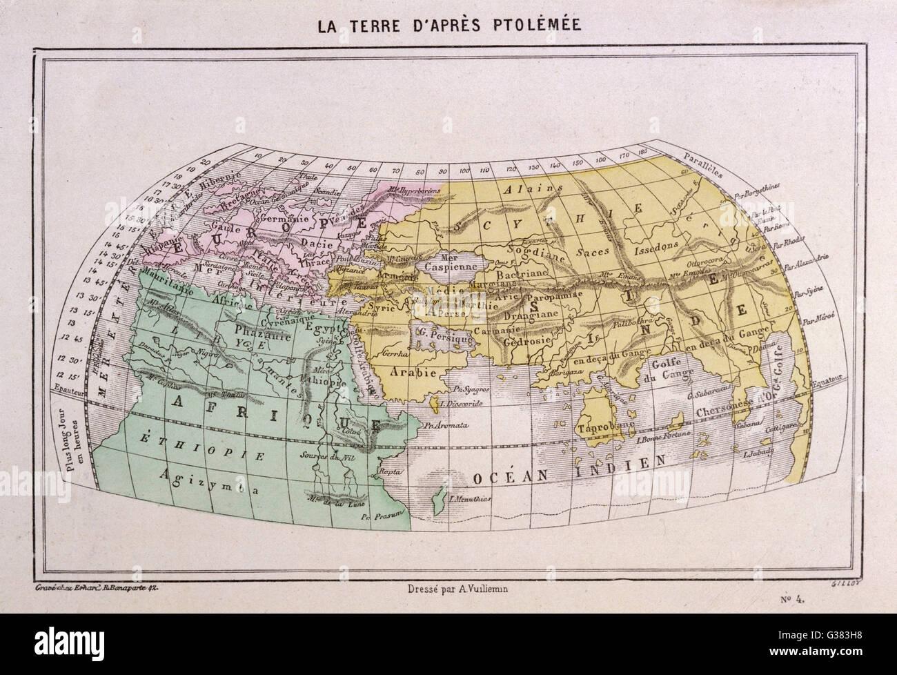 Il mondo visto da Tolomeo. Data: 2° secolo D.C. Immagini Stock