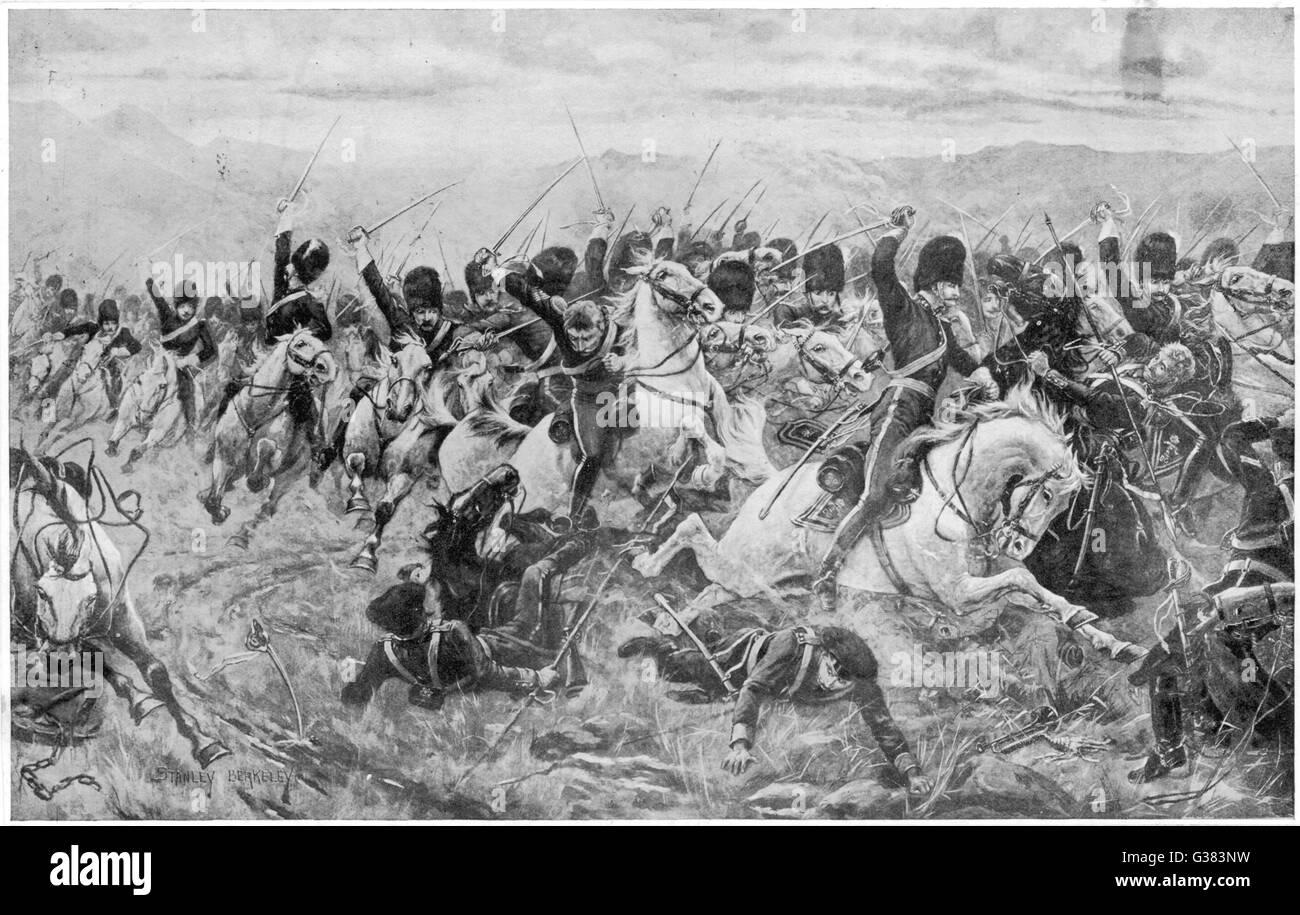 La carica della brigata pesante Data: 25 ottobre 1854 Immagini Stock
