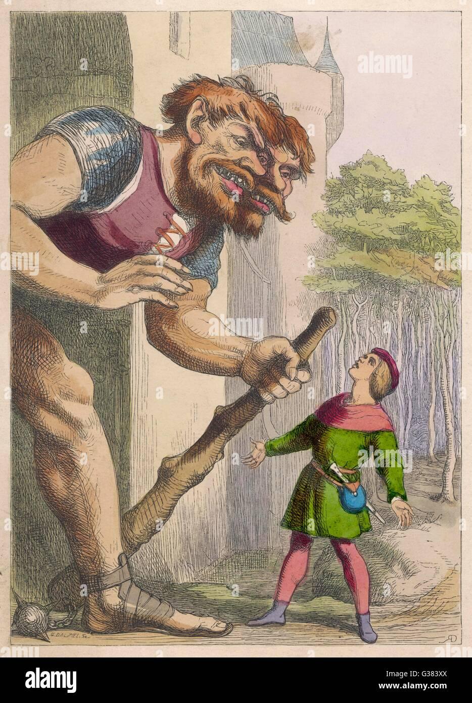 Il Jack Giant-Killer affronta il gigante CON DUE TESTE Immagini Stock