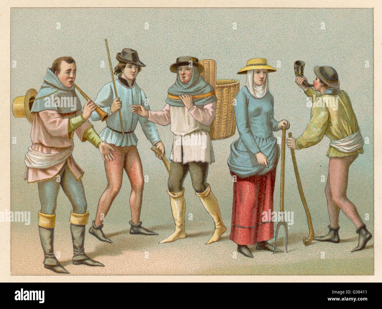 I contadini e gli altri popolani Data: Medioevo Immagini Stock