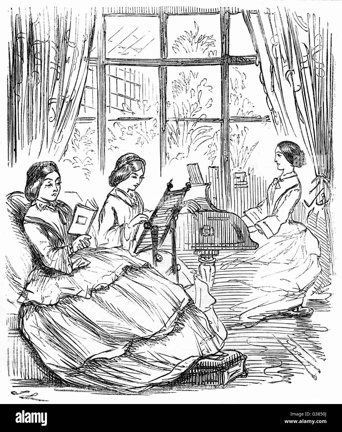 Le realizzazioni di giovani donne del periodo data: 1858 Immagini Stock
