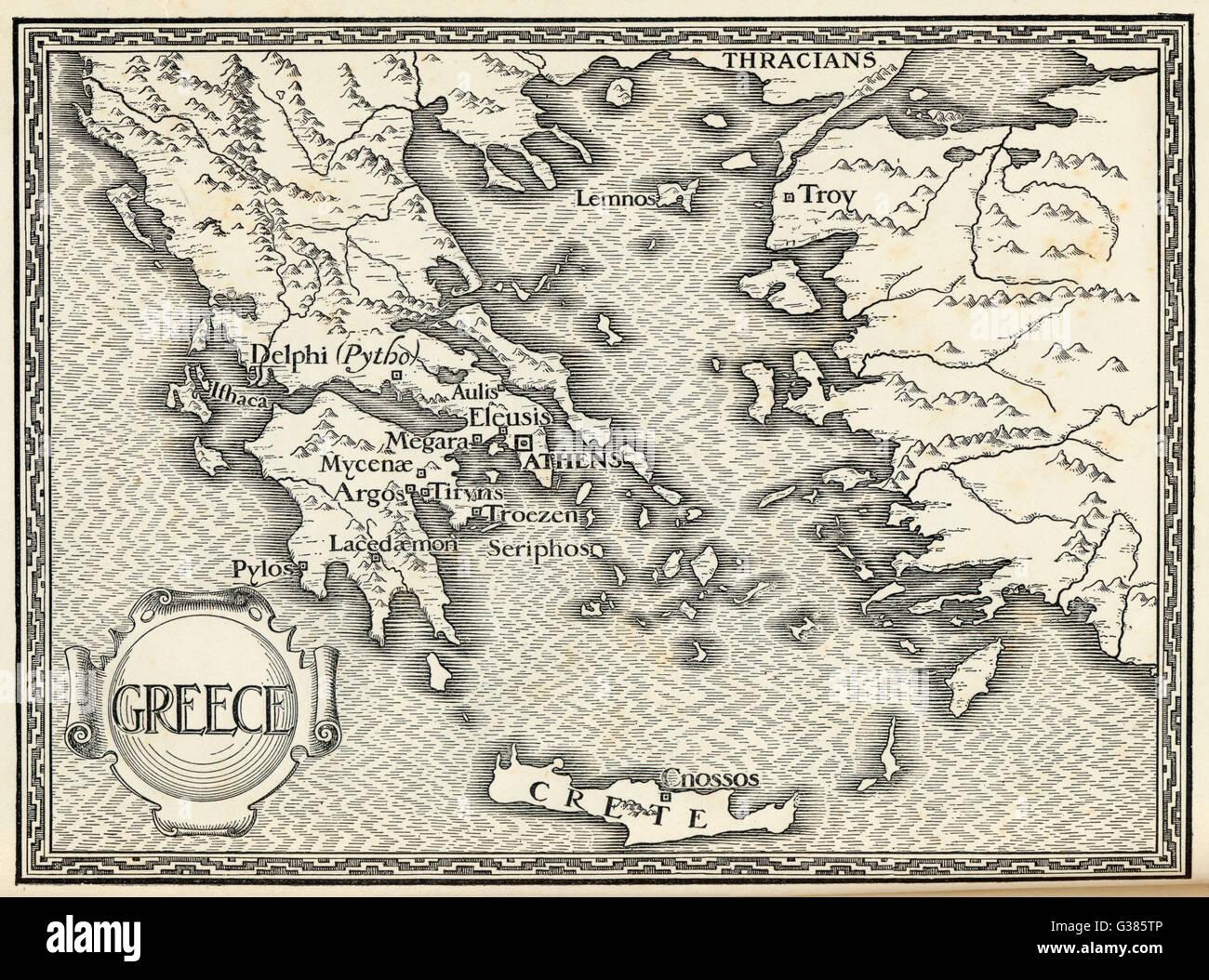 Mappa di Grecia antica. Immagini Stock