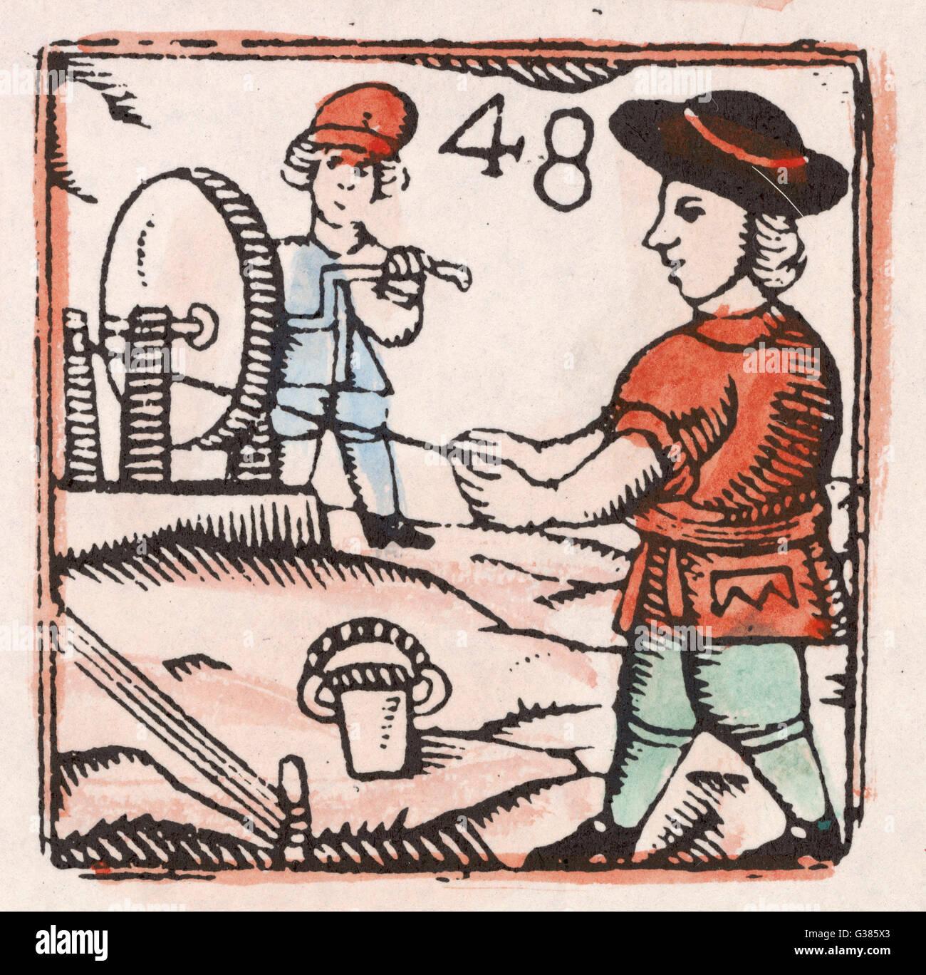 Due cordwainers - fune maker - vento le fibre ritorte,. Data: xvii secolo Immagini Stock