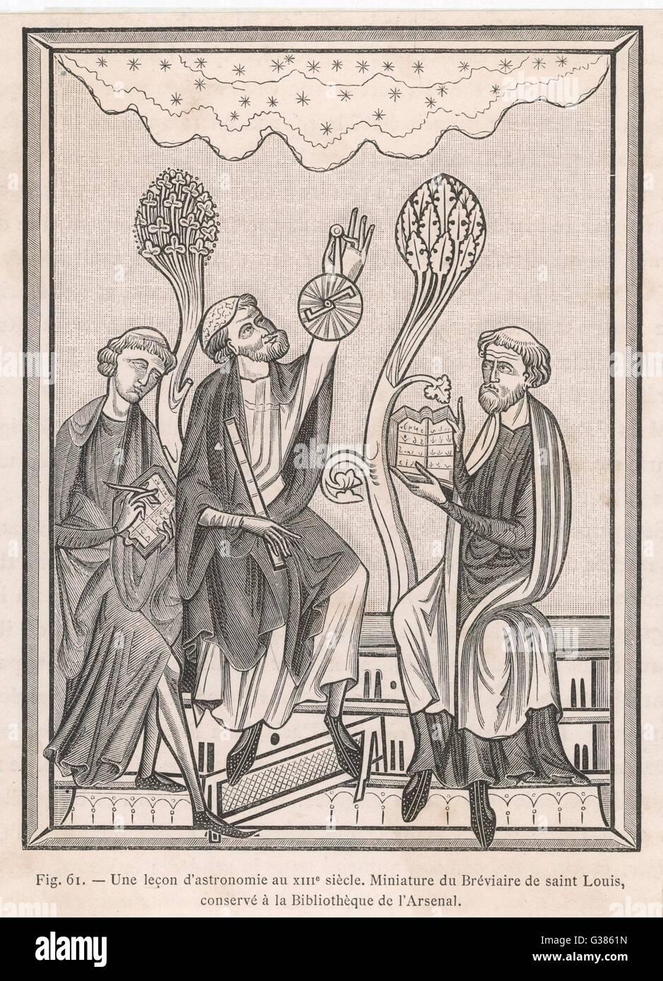 Osservando il cielo con strumenti primitivi Data: XIII secolo Immagini Stock