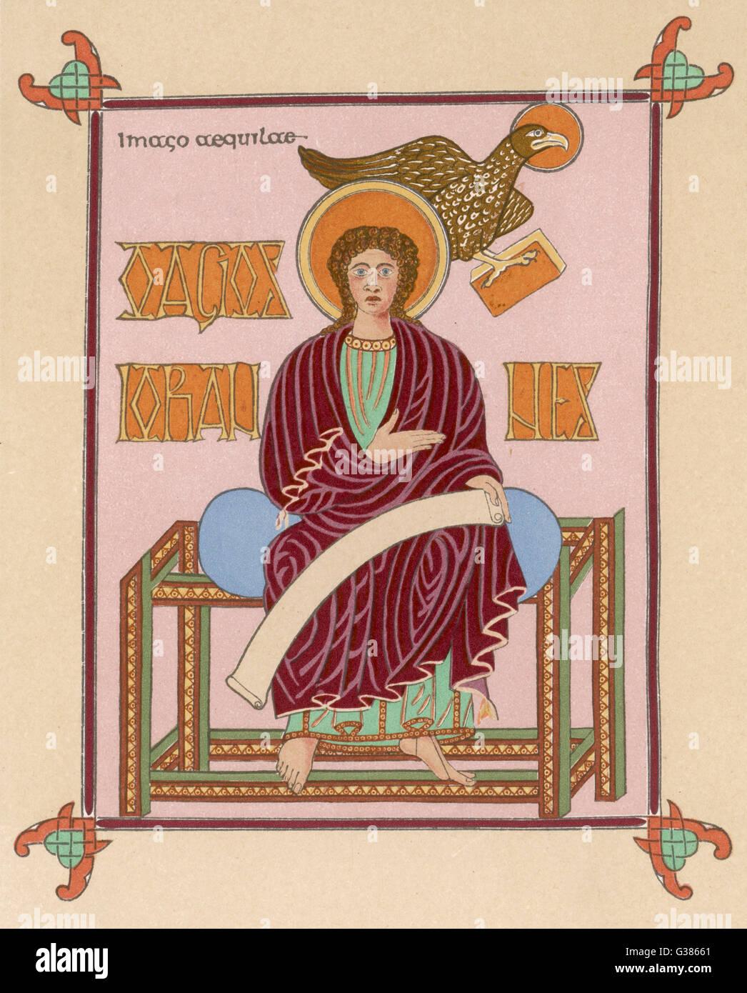 San Giovanni Evangelista un raro esempio di un pescatore girato autore; il più giovane degli apostoli, e vicino Immagini Stock