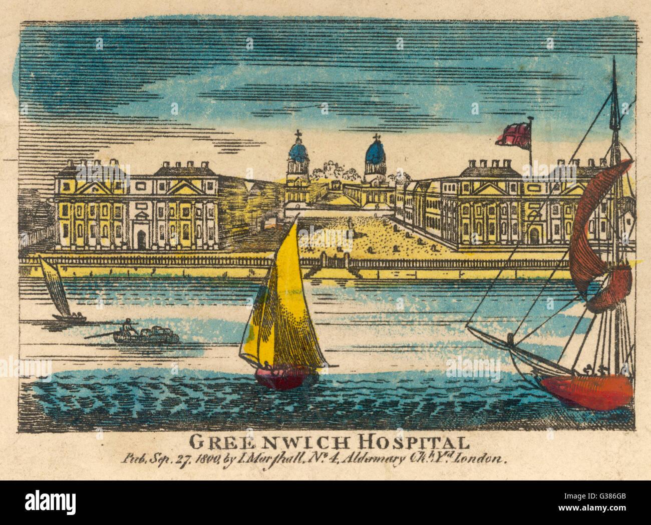 Ospedale di Greenwich. Data: 1800 Immagini Stock