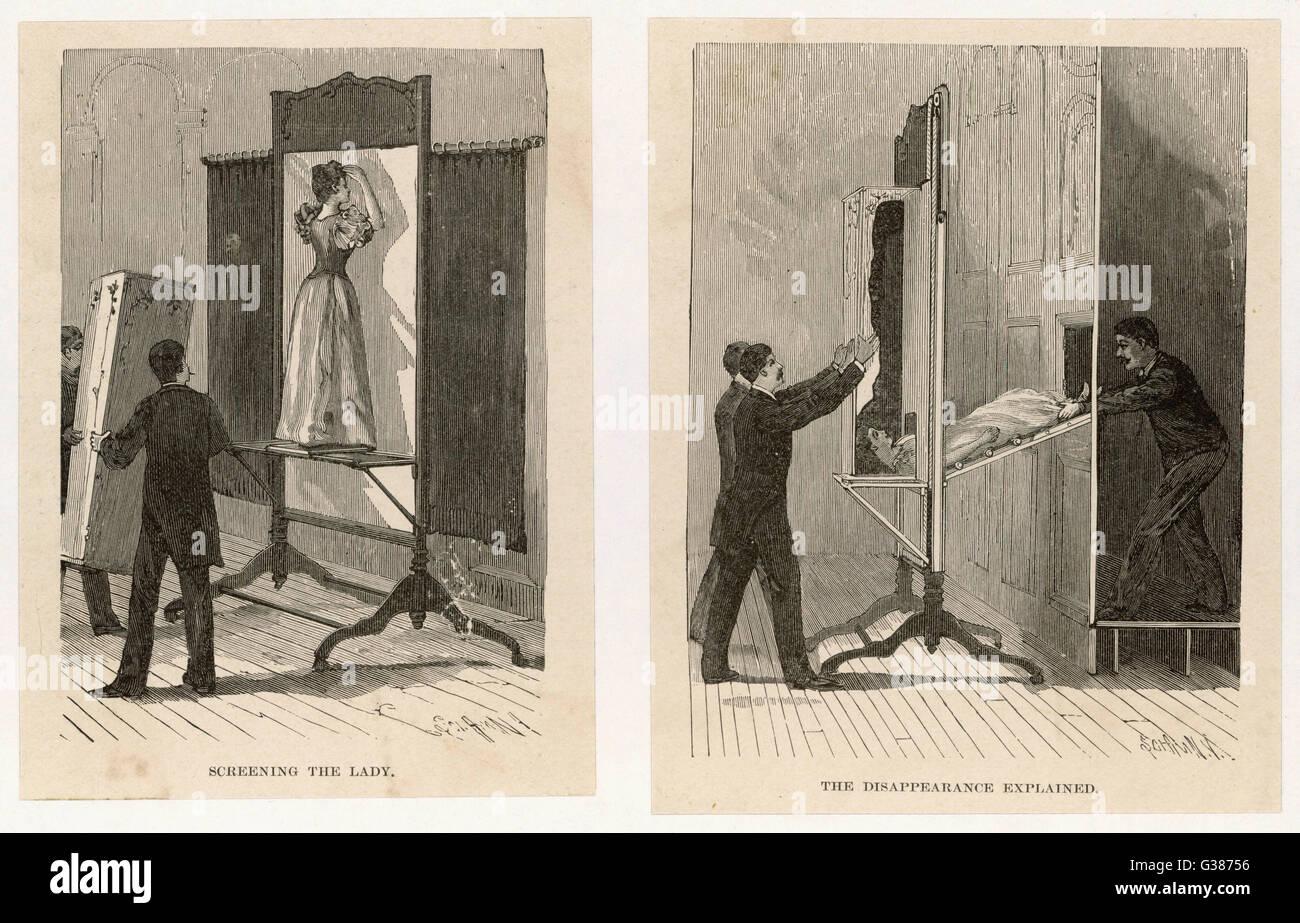 Le illustrazioni che mostrano come il 'Vanishing Lady' trucco funziona data: 1890 Immagini Stock