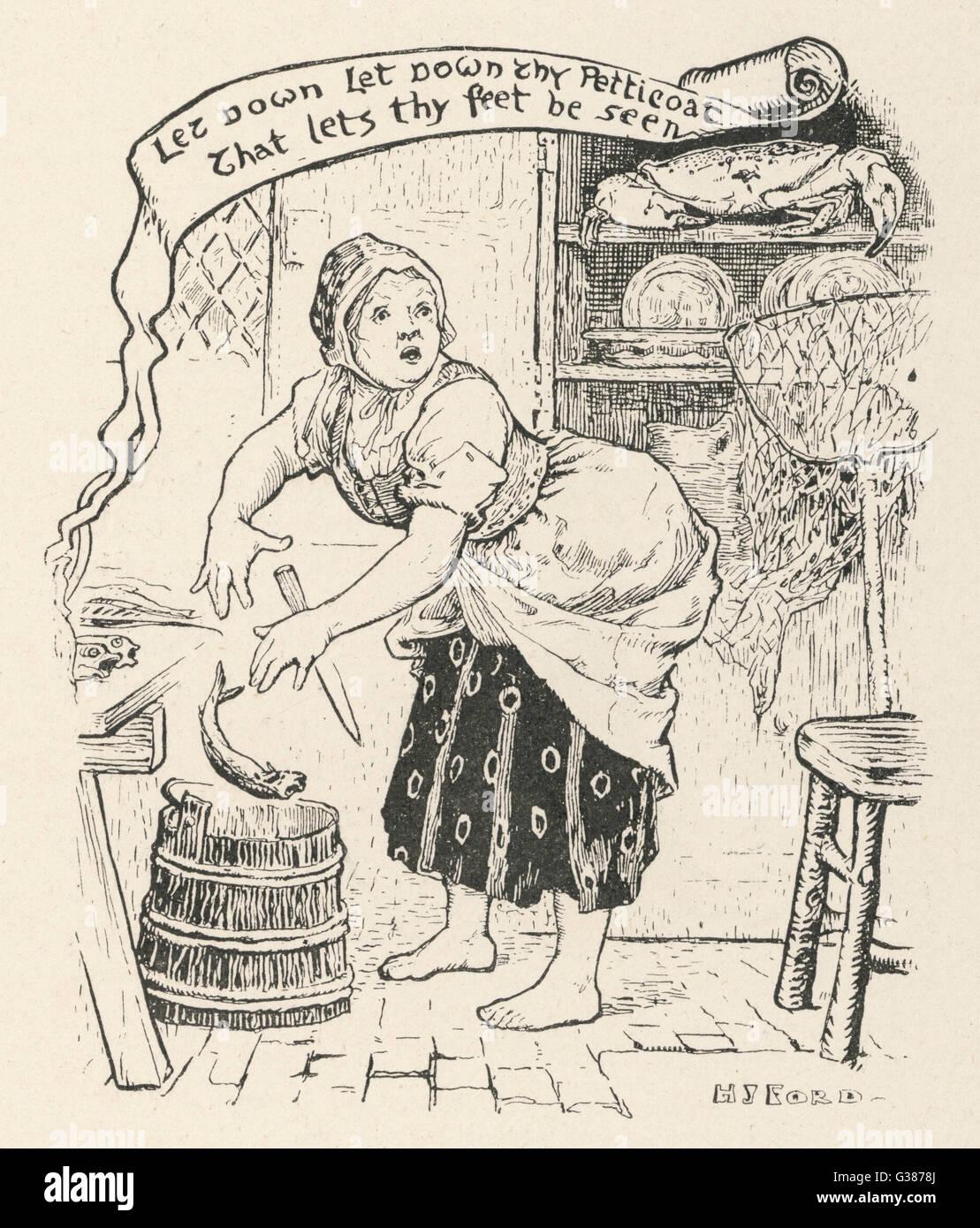 Il pescatore del vecchio moglie è stupito quando il granchio d'oro seduto su un ripiano nella sua cucina Immagini Stock