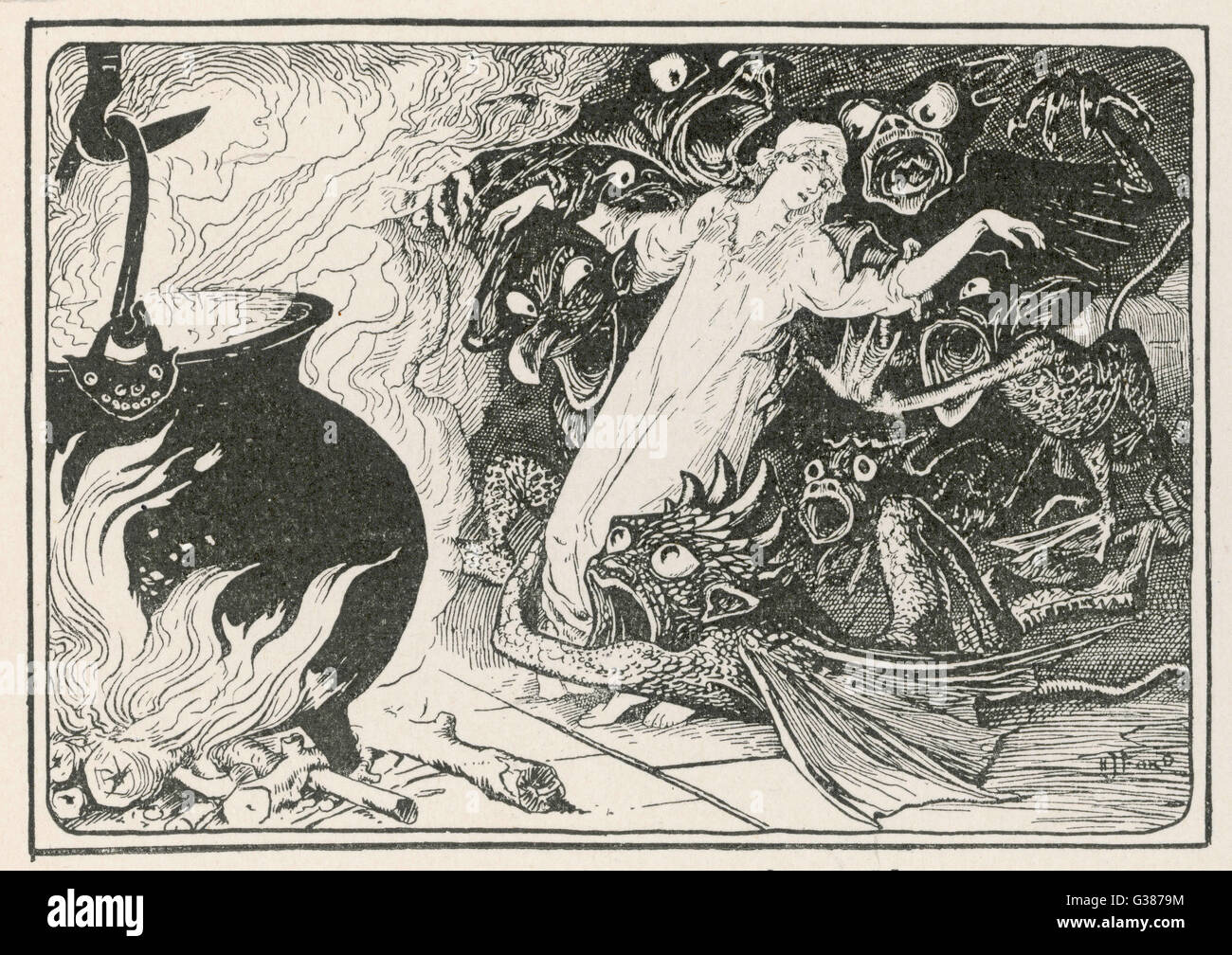 Gli spiriti malvagi trascina la ragazza nel calderone. (Polacco storia). Immagini Stock