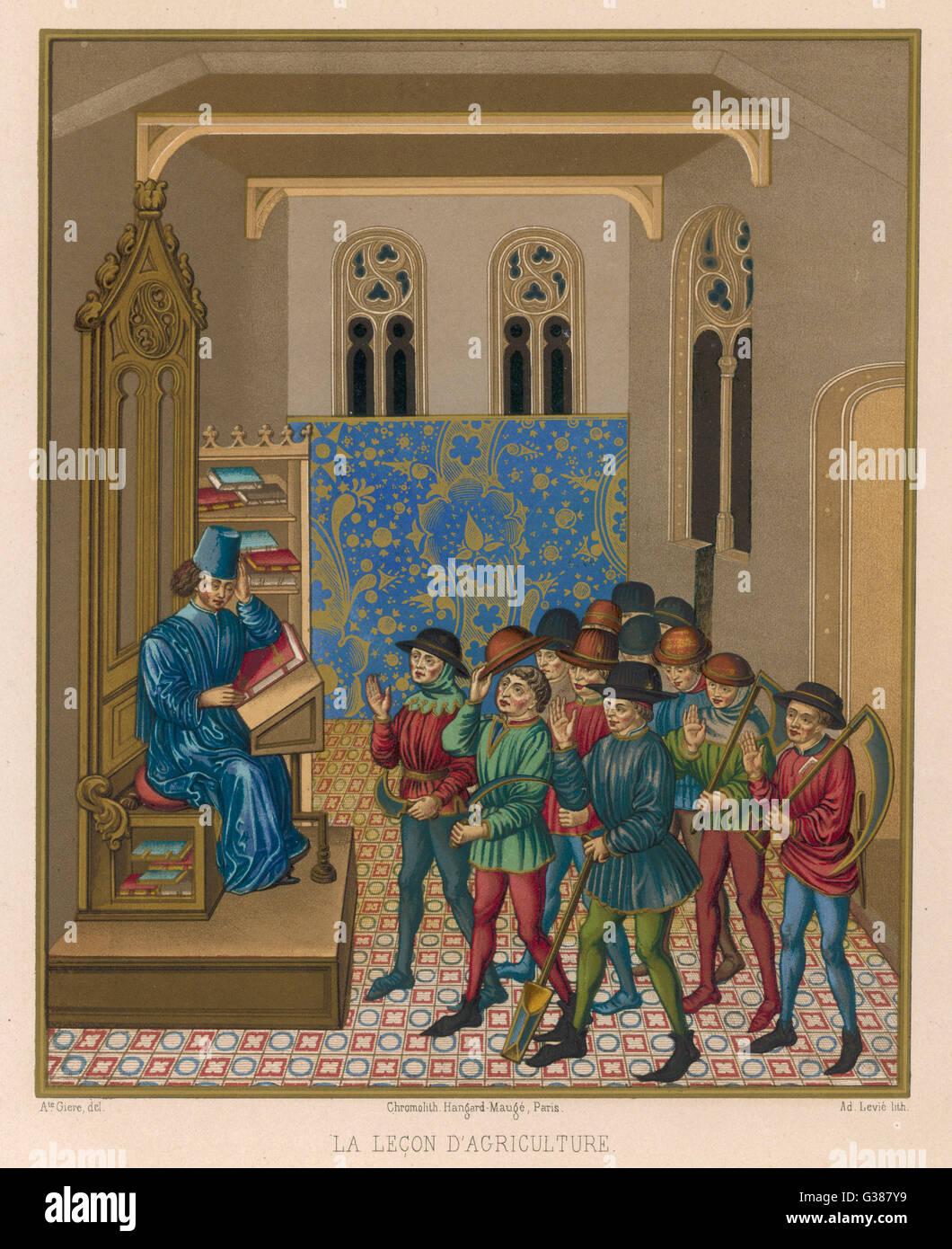 Un gruppo di braccianti agricoli ricevono istruzione in metodi agricoli data: XV secolo Immagini Stock
