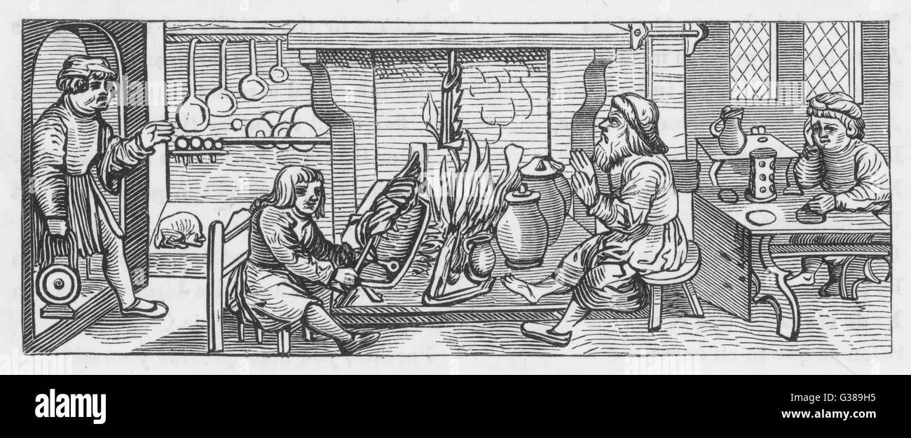 Xilografia dal 1518, mostra un interno di una cucina. Data: 1518 Immagini Stock