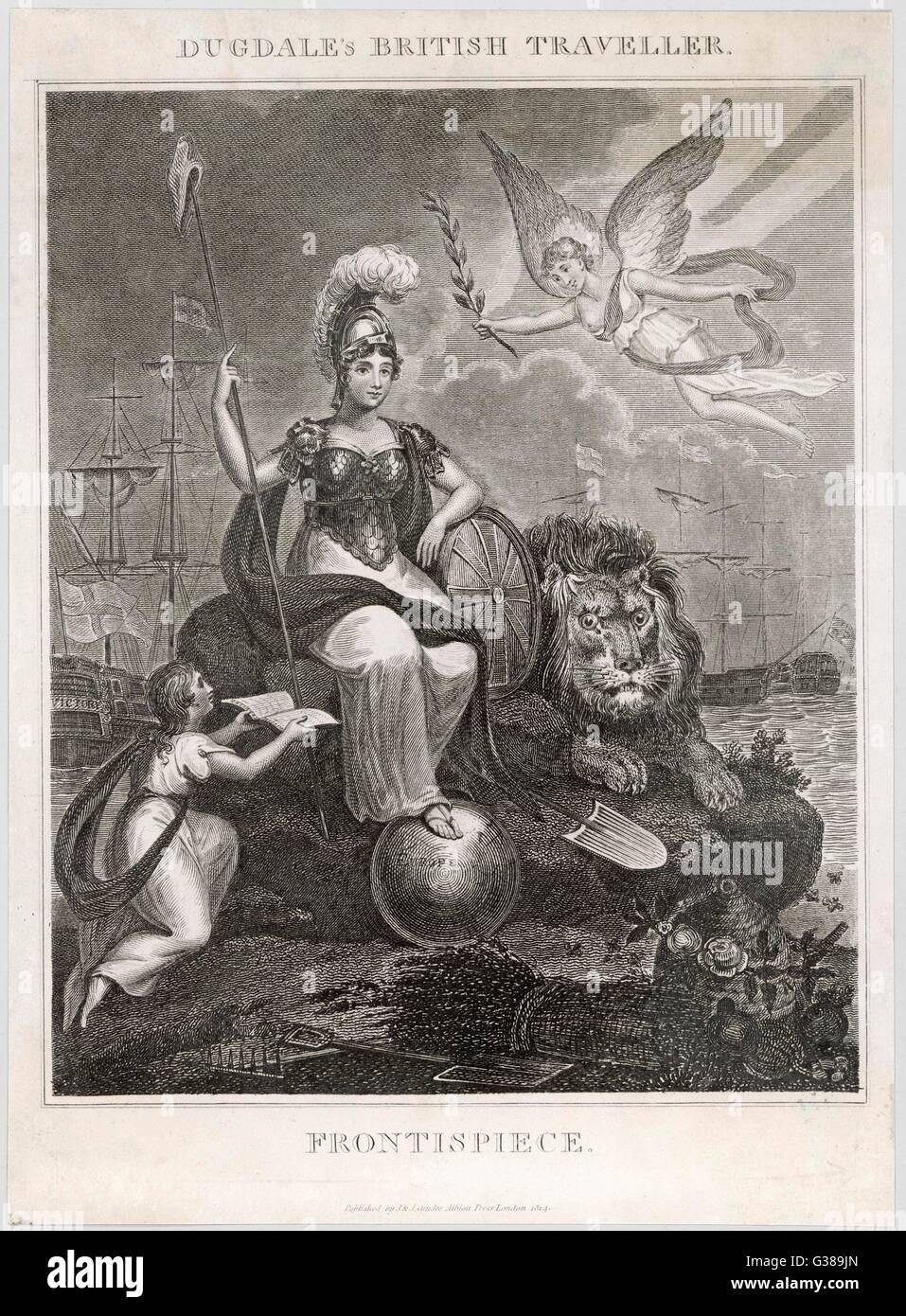 Un imperioso Britannia con il suo piede sulla protezione dell'Europa data: 1814 Immagini Stock
