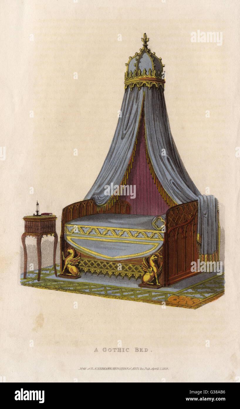 Un letto in stile gotico data: 1826 Immagini Stock