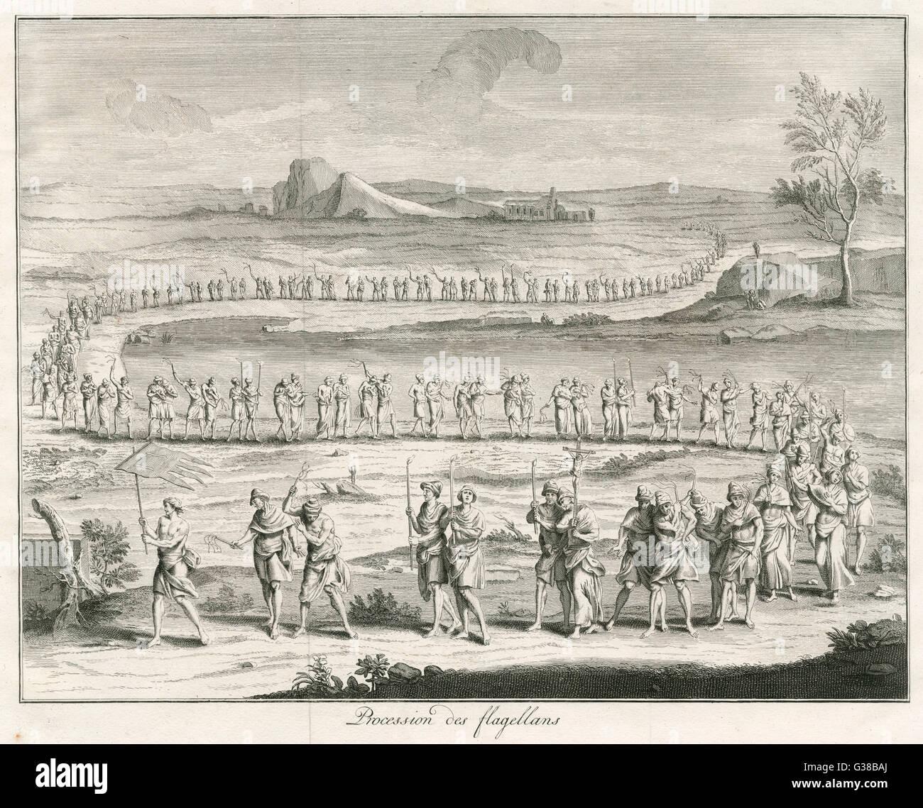 Processione di flagellants durante il Medioevo Immagini Stock