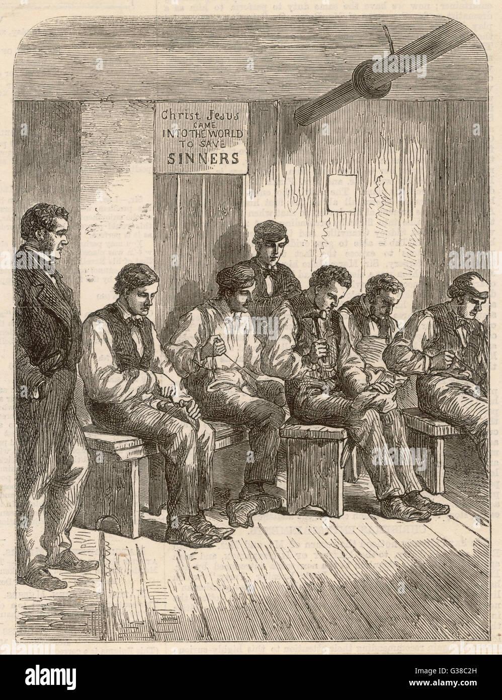 Istruzioni di calzatura in corrispondenza di una cattiva legge istituzione data: 1860 Immagini Stock