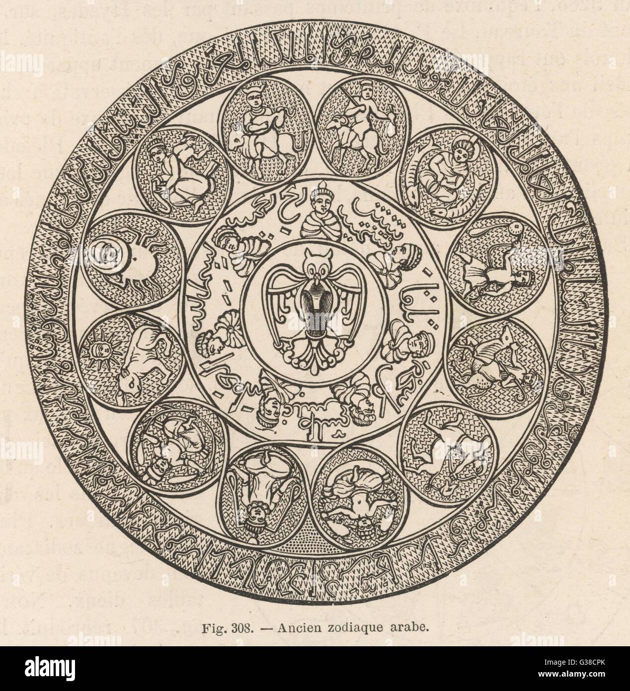Antichi arabi zodiaco Immagini Stock