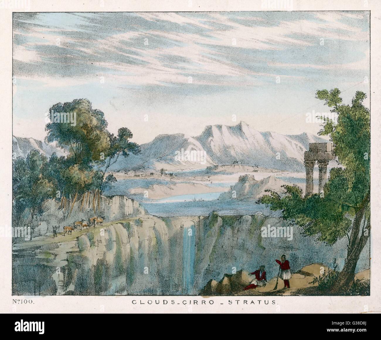 Un paesaggio roccioso con cirro- stratus nuvole. Data: 1849 Immagini Stock