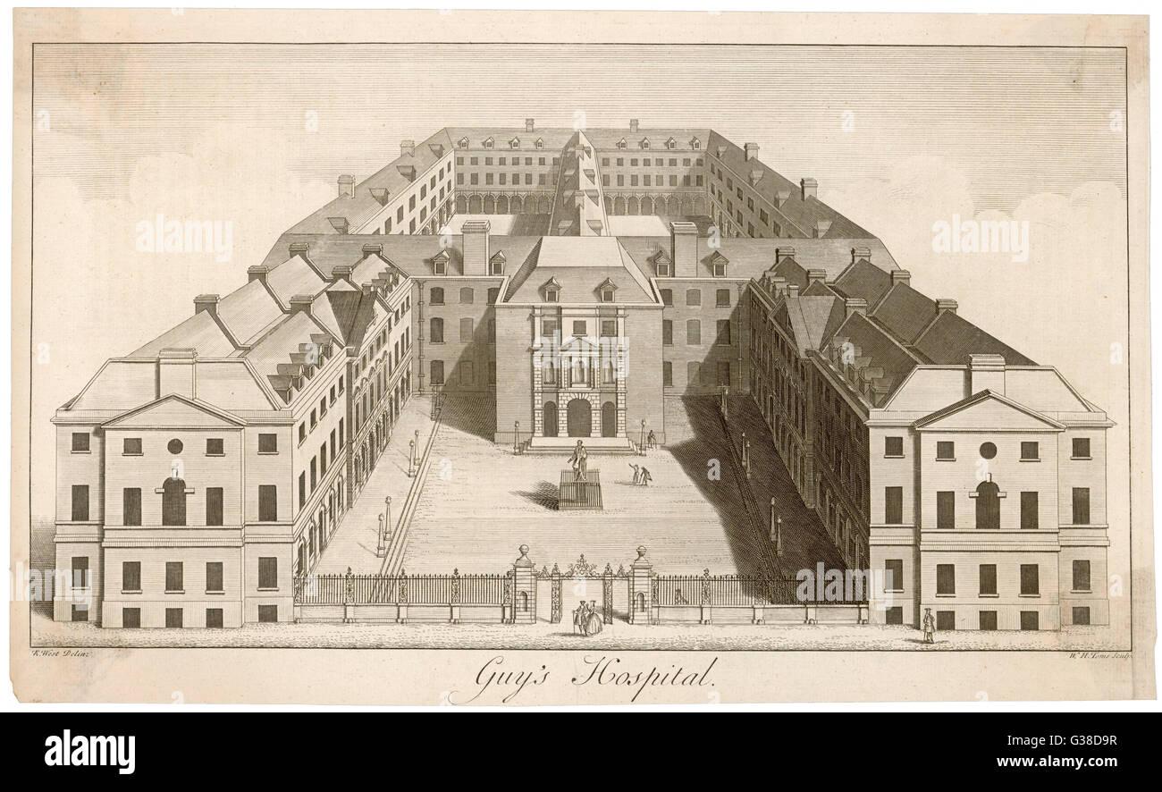 Una generale vista esterna degli edifici che compongono il ragazzo ospedale. Data: metà del XVIII secolo Immagini Stock