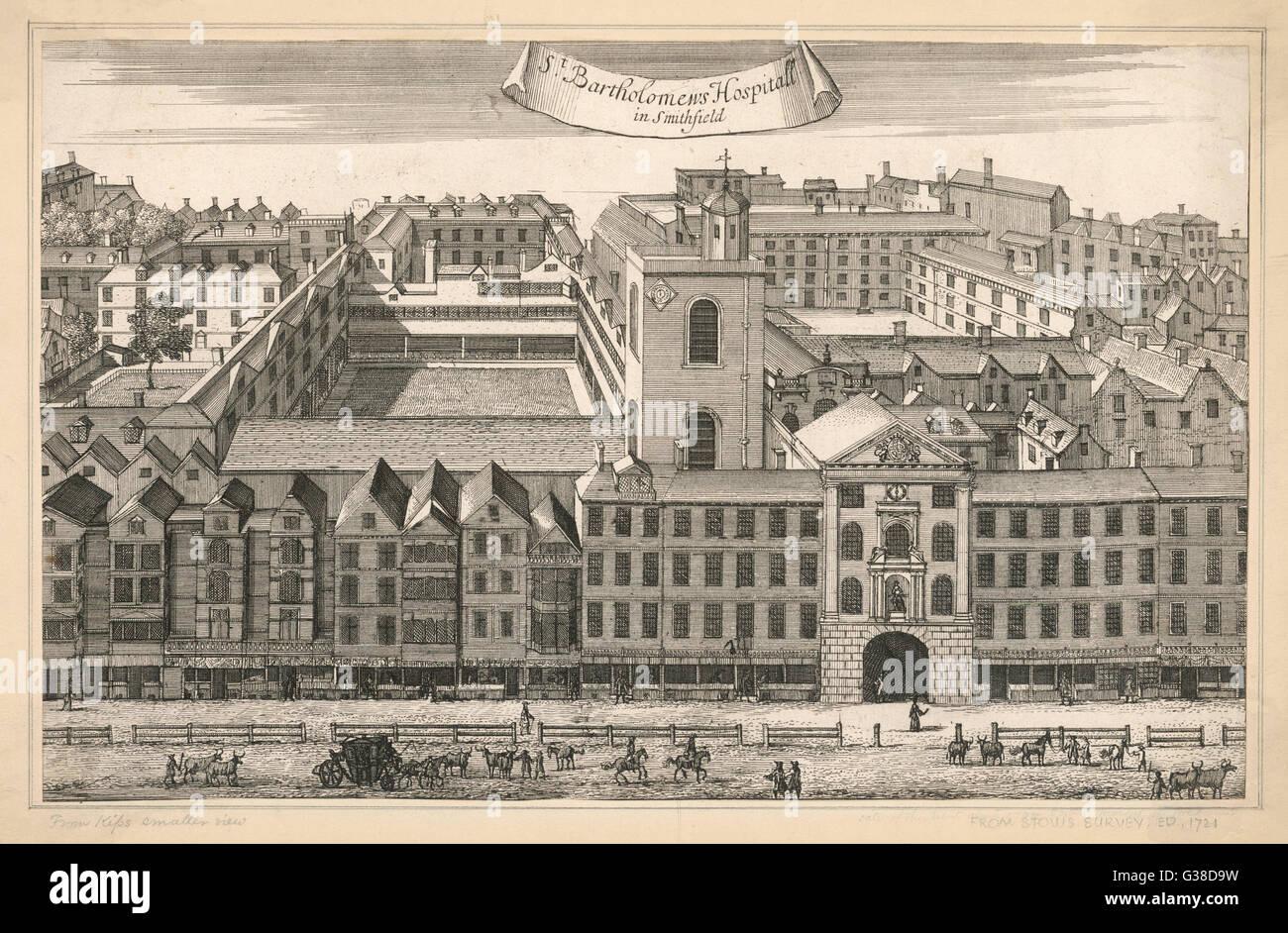 Una generale vista esterna degli edifici che compongono San Bartolomeo's Hospital di Smithfield, Londra. Data: Immagini Stock