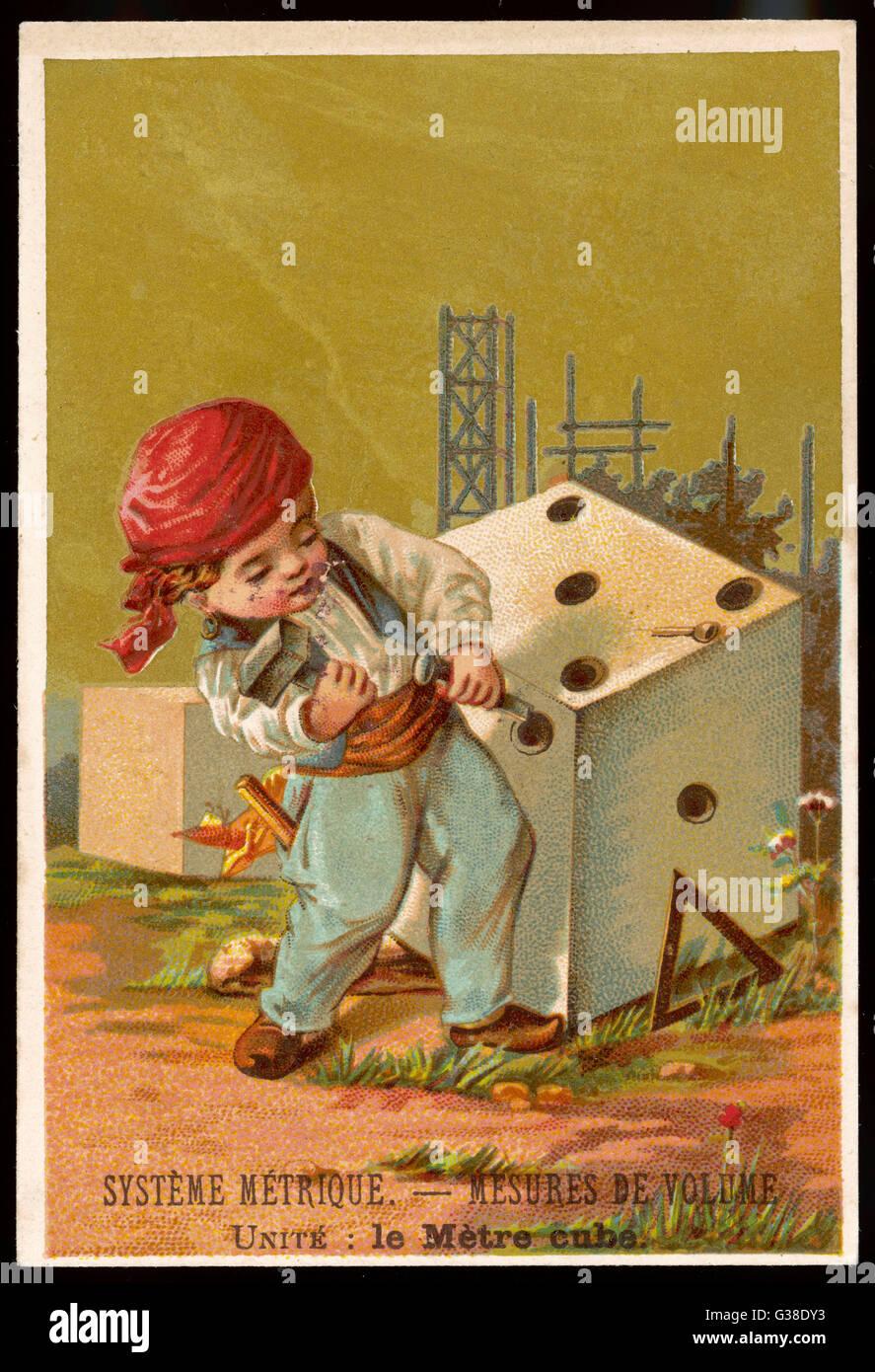 Volume - un metro cubo Data: circa 1880 Immagini Stock