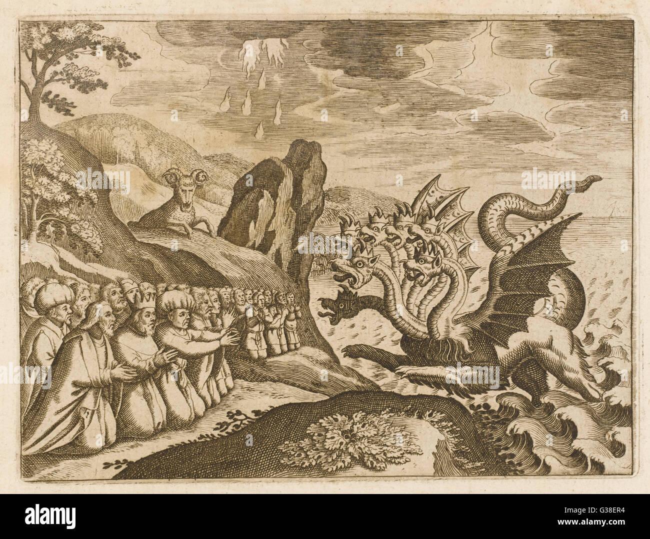 Il grande sette capo-bestia dell'Apocalisse Immagini Stock