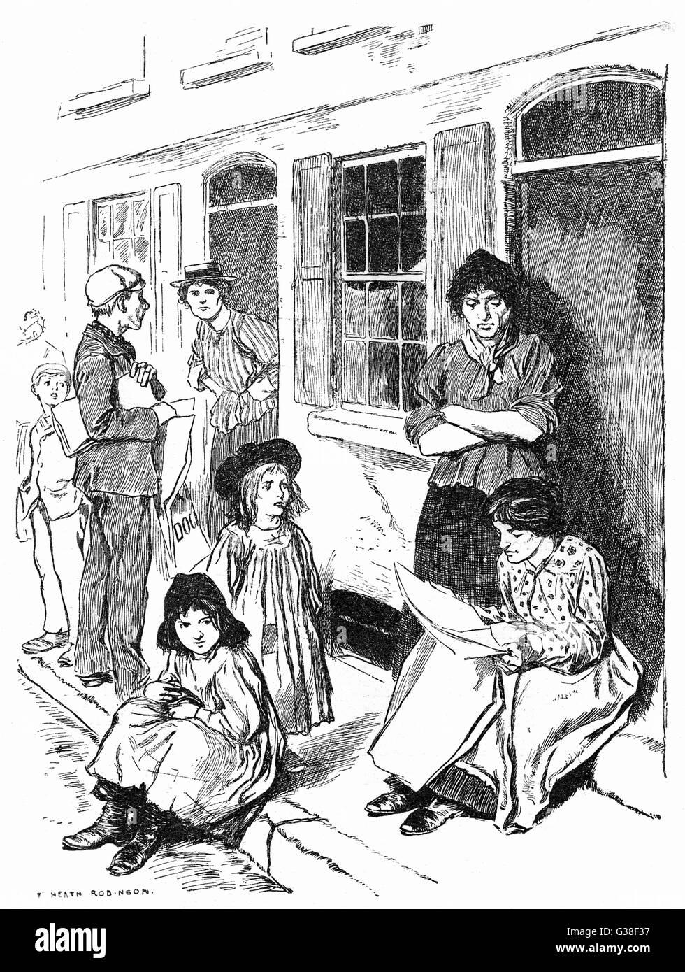 'In quasi ogni porta la newsboy trova un cliente'. Data: 1904 Immagini Stock