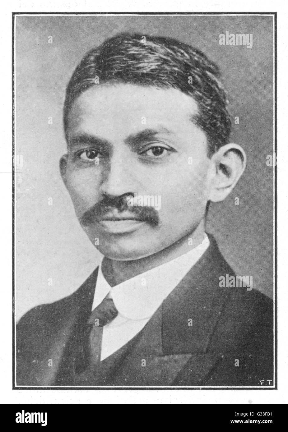 Il Mahatma Gandhi un ritratto dello statista indiano e il reformer quando era 26. Data: 1869 - 1948 Immagini Stock