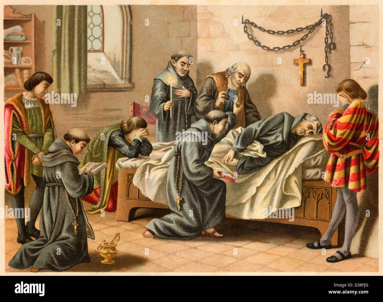 Columbus muore a Valladolid. Data: 19 Maggio 1506 Immagini Stock