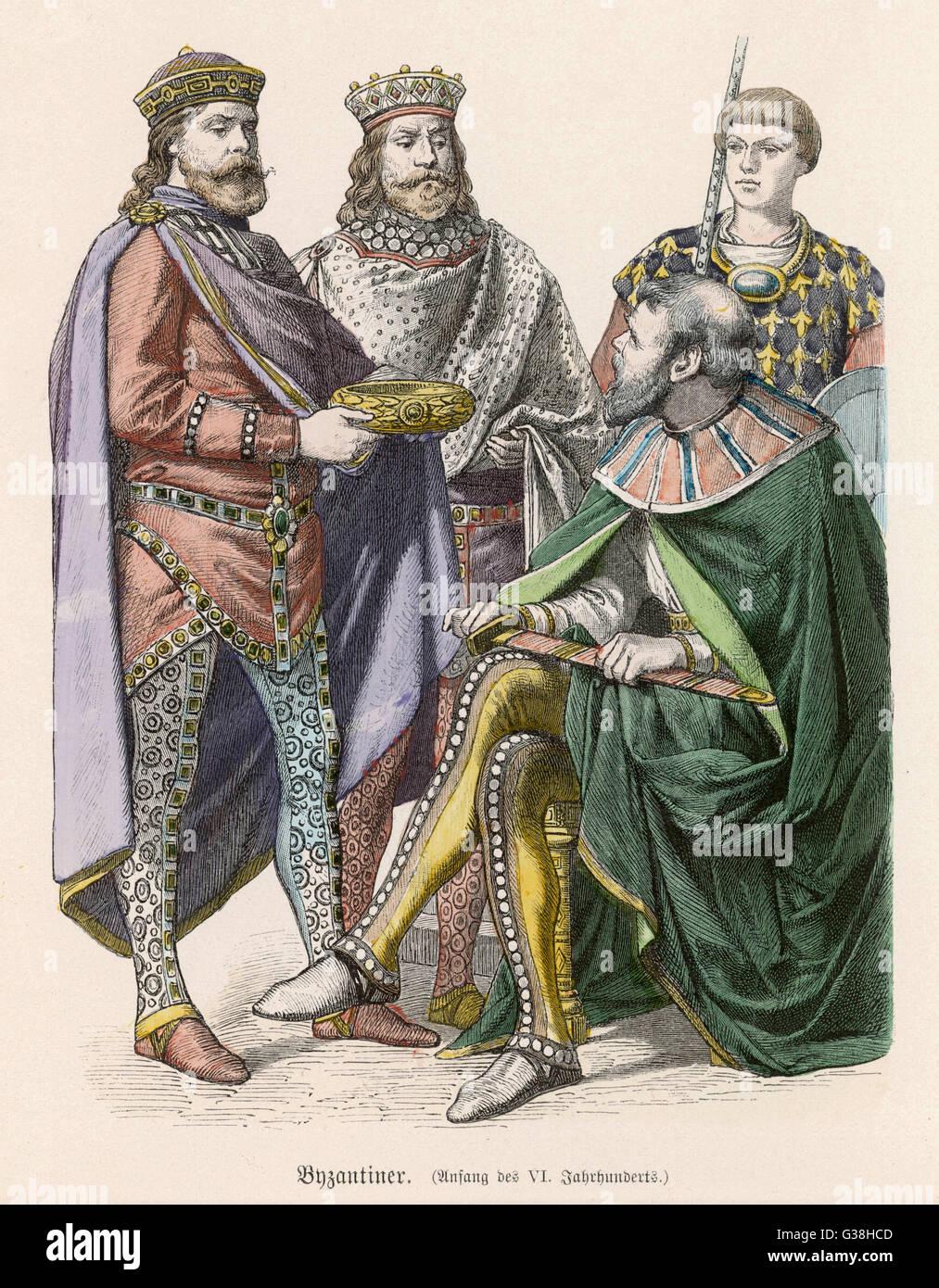 Gli uomini del periodo bizantino Data: sesto secolo Immagini Stock