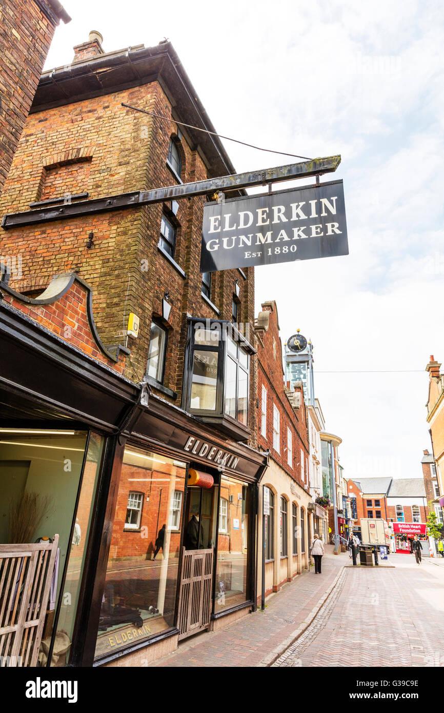 Pistola maker shop segno Elderkin EST 1880 città Spalding Lincolnshire UK Inghilterra segni dello store Immagini Stock