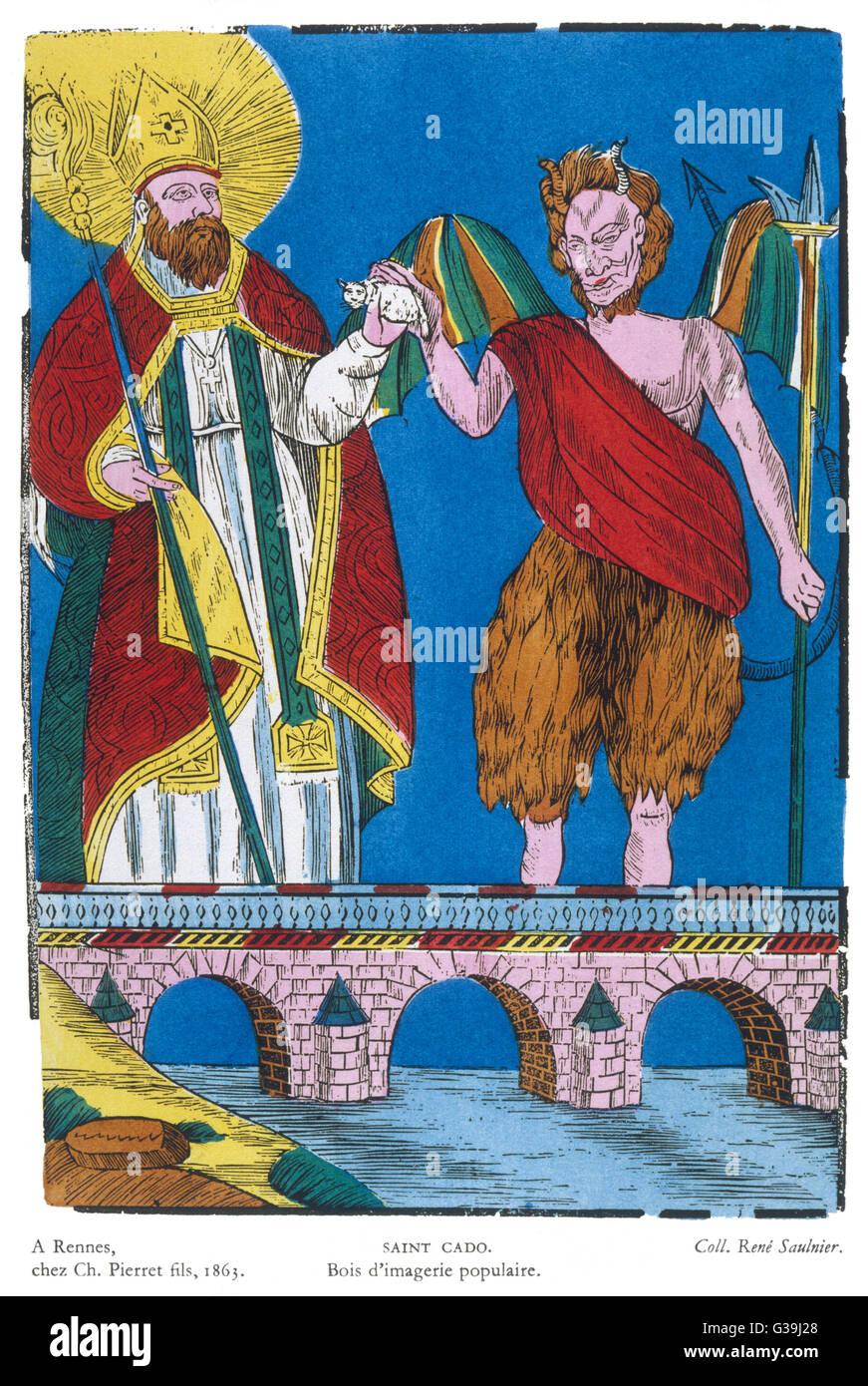 Il bene e il male sono rappresentati da St Cado e il diavolo, rispettivamente Immagini Stock