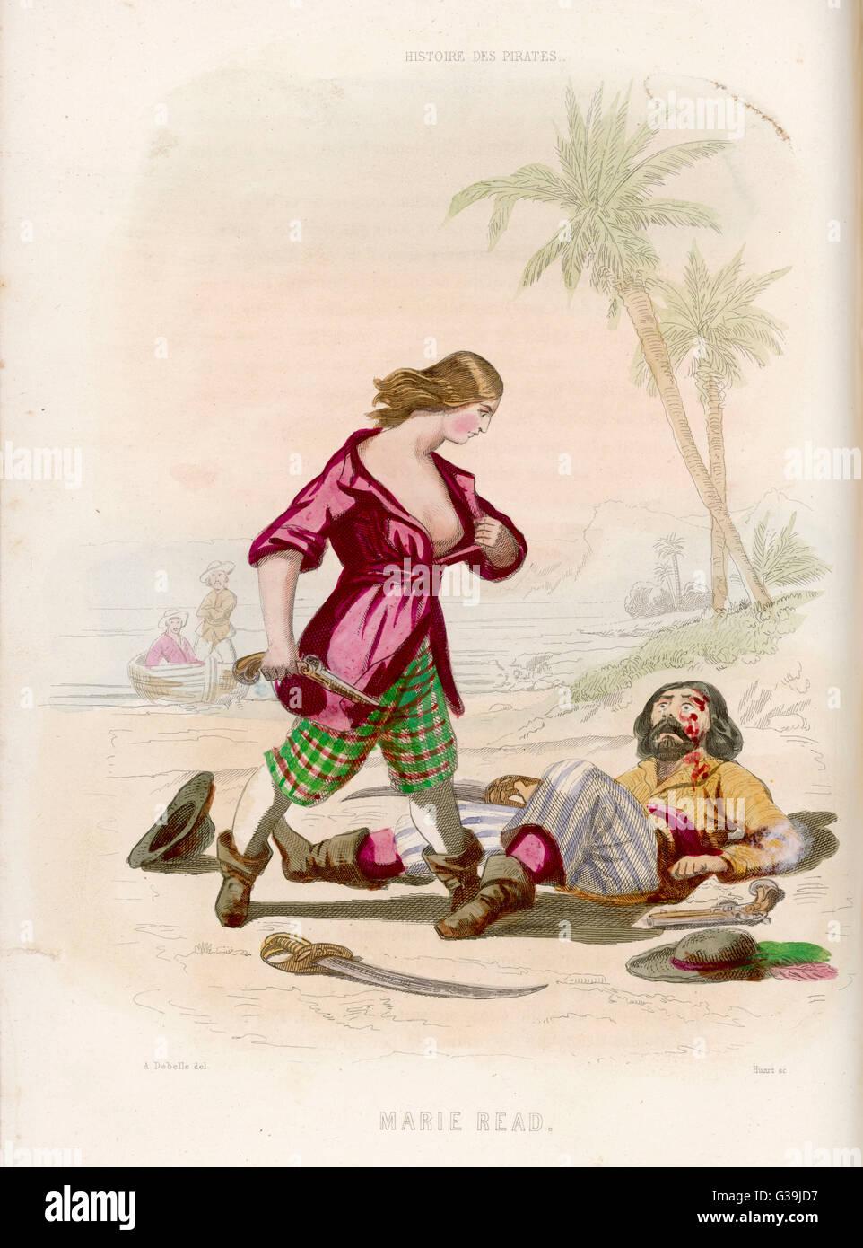 Il pirata Maria leggere rivela ai suoi attoniti vittima che egli è stato sconfitto da una donna Immagini Stock