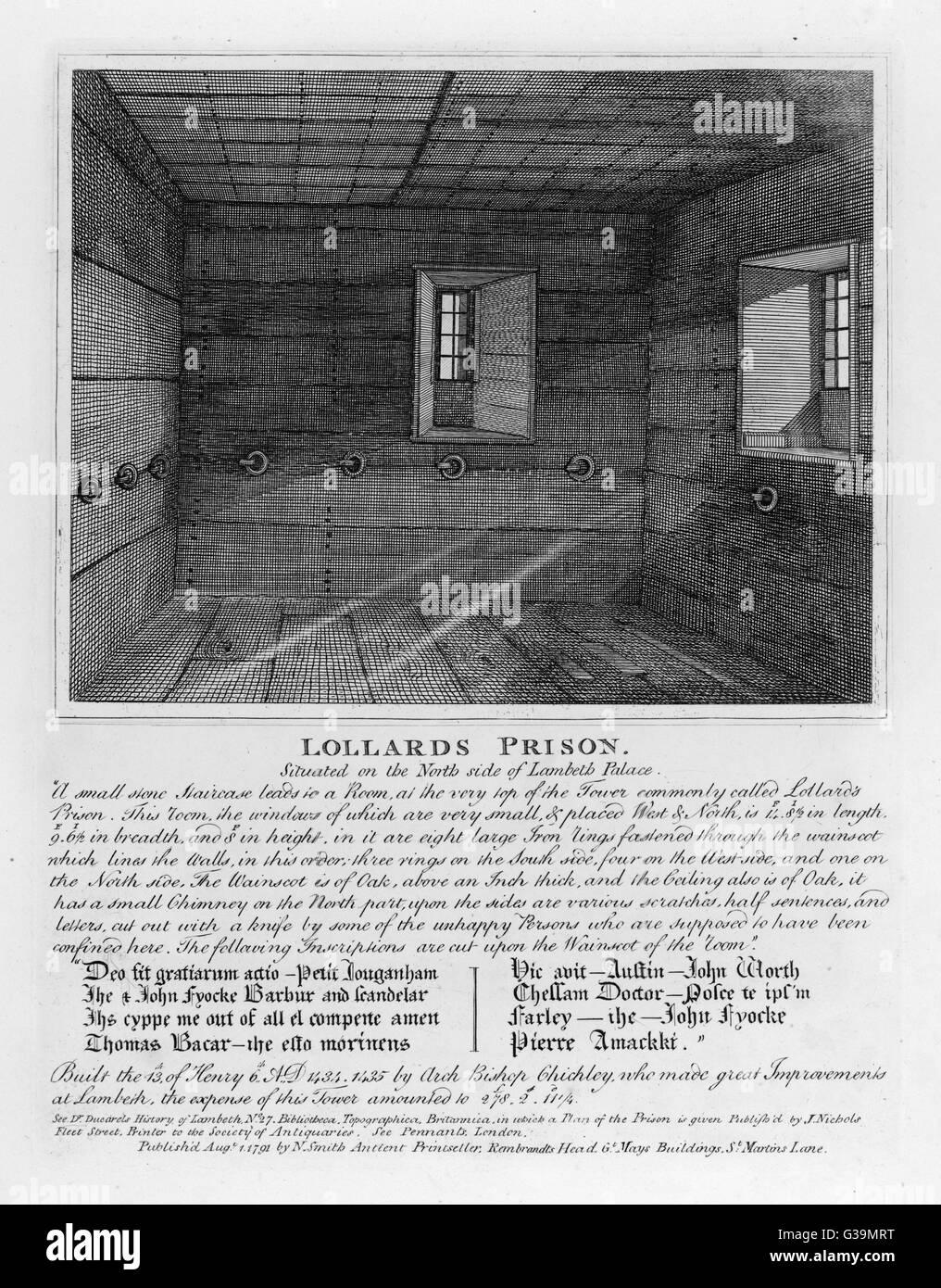 Parte di Lambeth Palace, progettato per alloggiare i seguaci di Wyclef - noto come Lollards - che si oppongono alcuni Immagini Stock