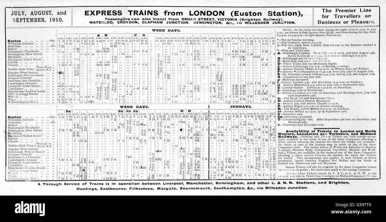 Calendario Luglio Agosto.Calendario Per I Treni Espressi Da London Euston In Luglio