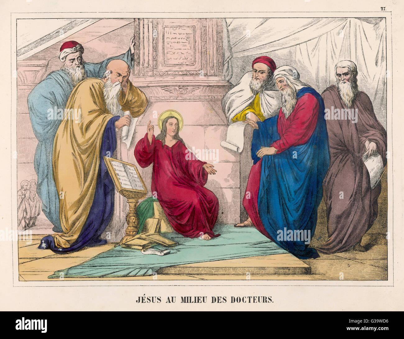 Egli discute di questioni teologiche con i medici della divinità Immagini Stock