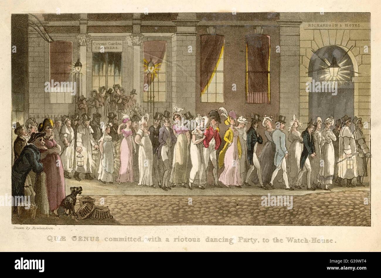 Quae genere impegnata con un rivoltosi balli, all'Watch-House. Data: 1821 Immagini Stock