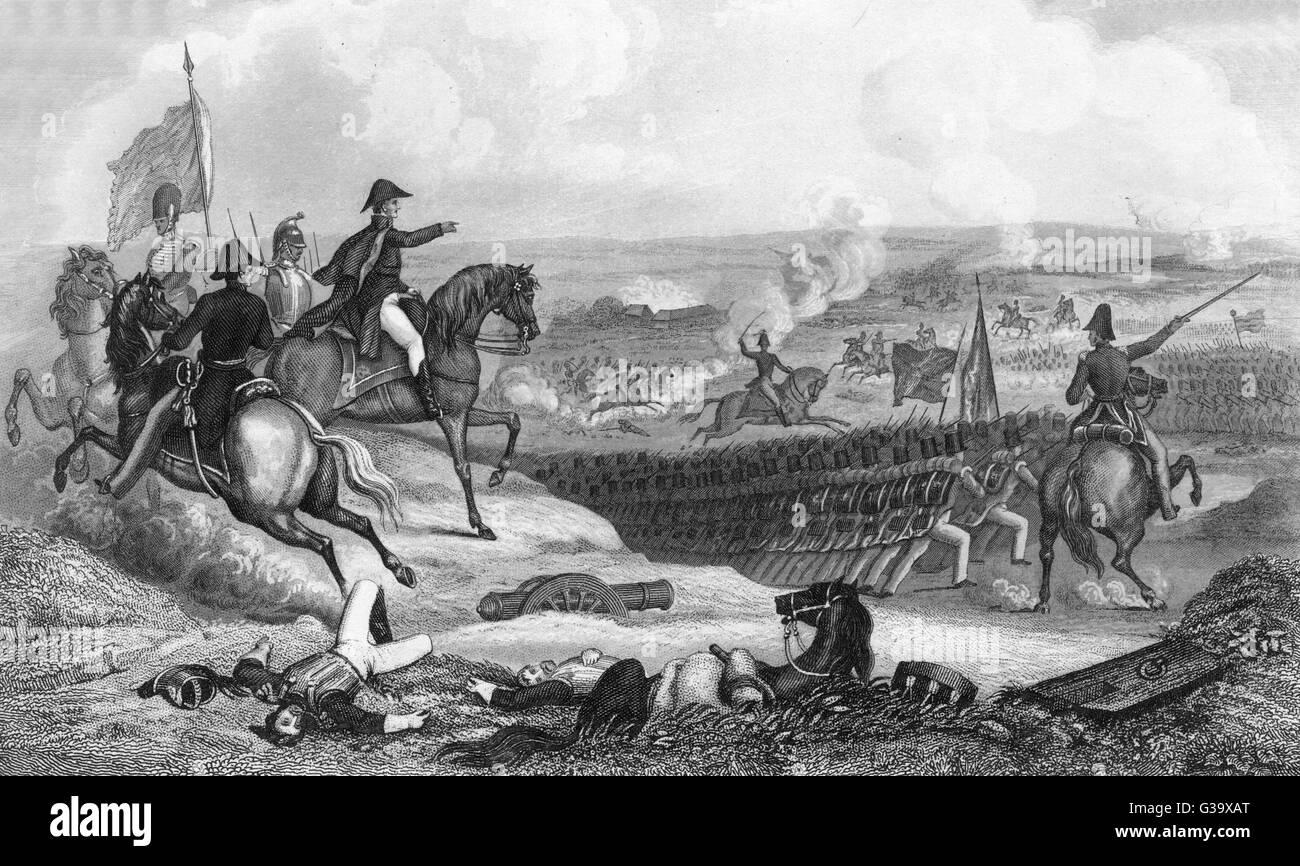 """Problemi di Wellington il suo famoso comando, """" fino le protezioni e a loro !"""" che conduce alla decisiva Immagini Stock"""