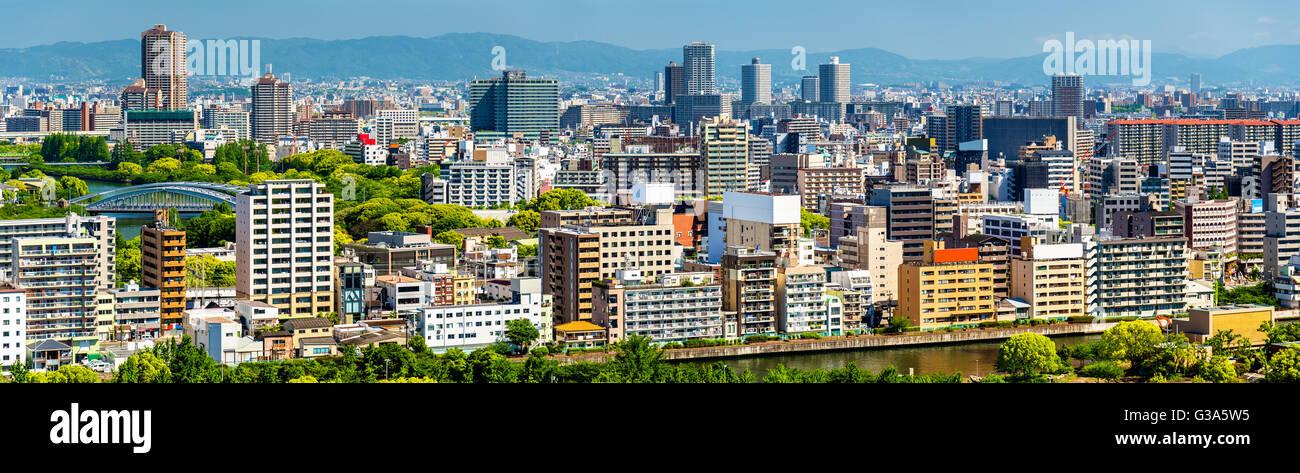 Skyline della città di Osaka in Giappone Immagini Stock