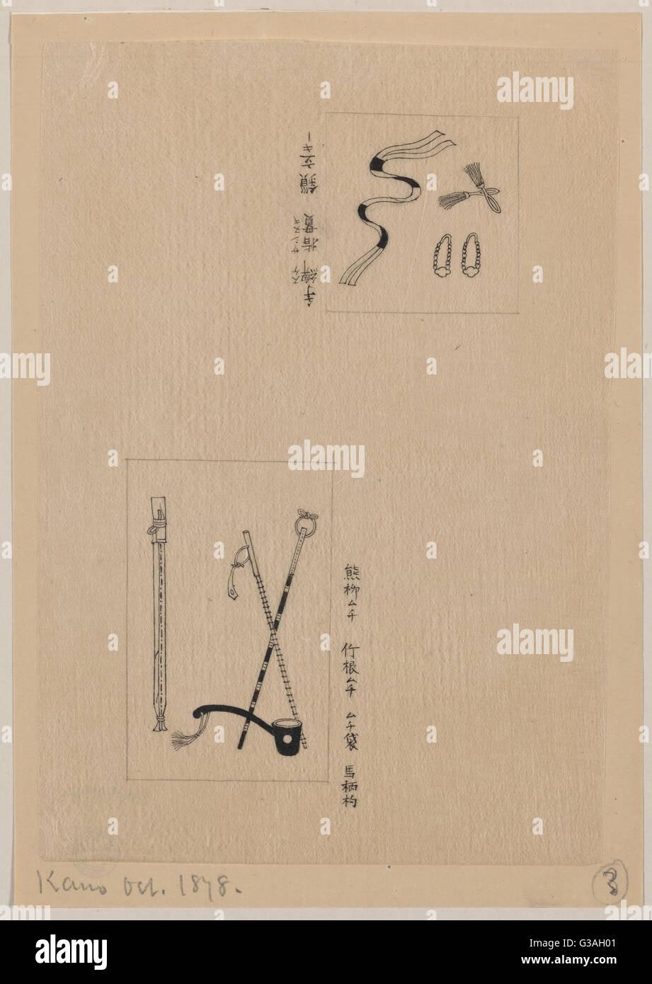 Due immagini (superiore): shash e accessori per divise; (fondo): bastoni o bastoni cerimoniali. Data 1878 Ott. Immagini Stock
