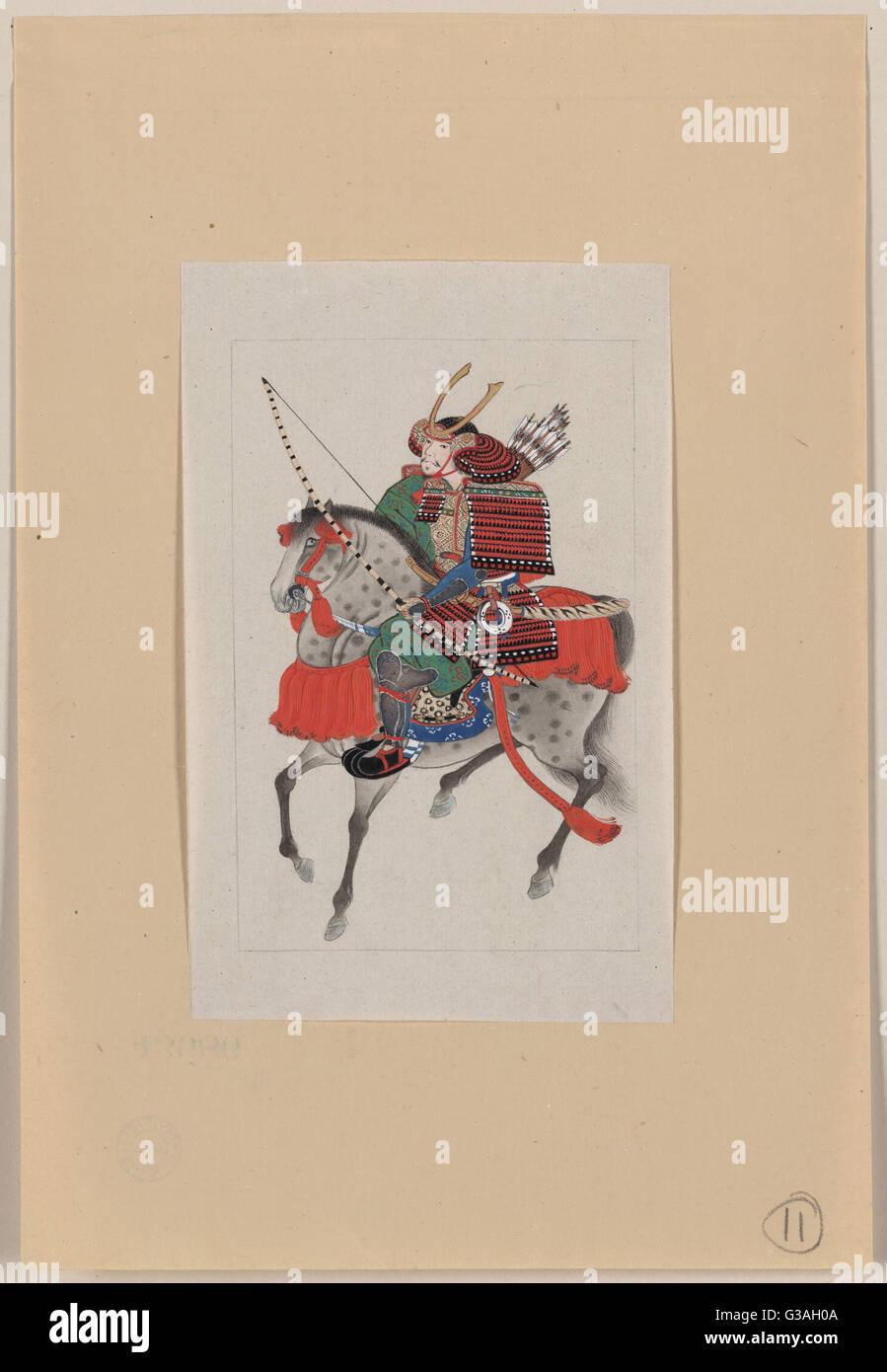 Il Samurai a cavallo, indossa armatura e casco cornuta, portando arco e frecce. Data 1878?. Immagini Stock