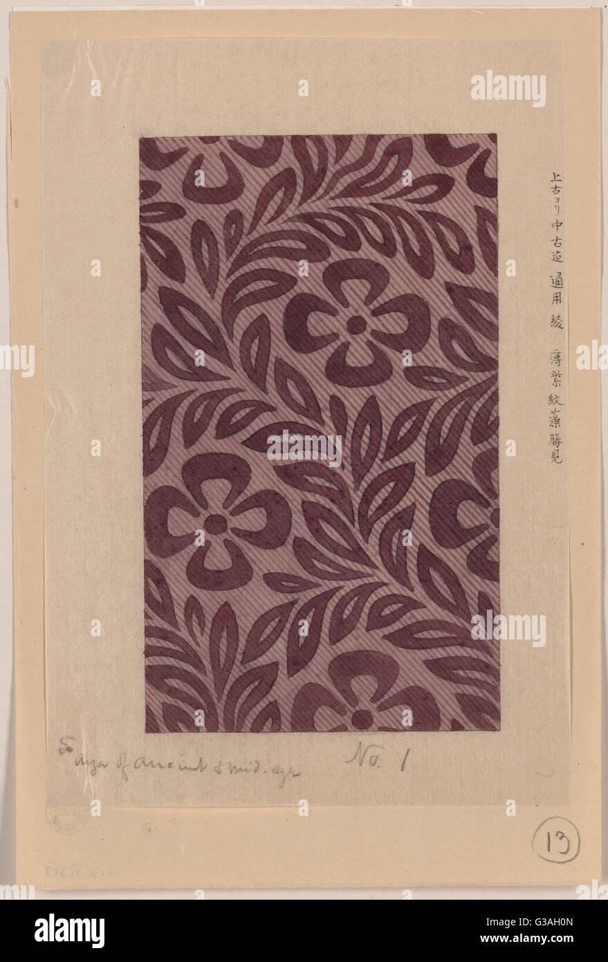 Il design tessile con motivo floreale. Data 1878?. Immagini Stock