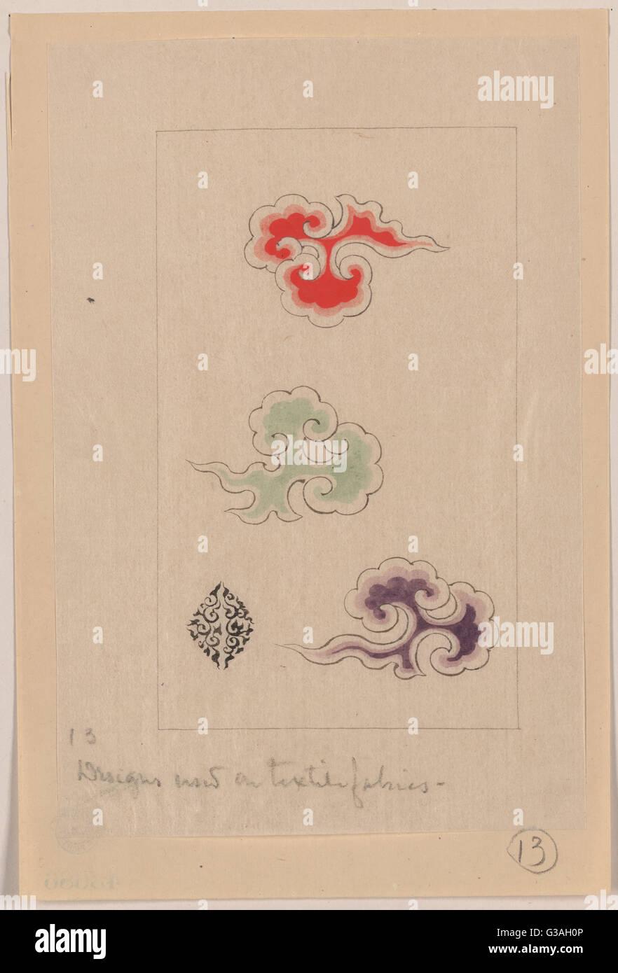 Progetta ora su tessuti tessili. Data 1878?. Immagini Stock