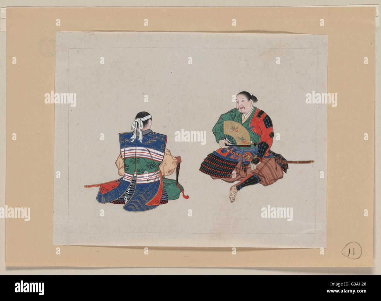 Vista anteriore e posteriore di uniformi e armatura di samurai. Data 1878?. Immagini Stock