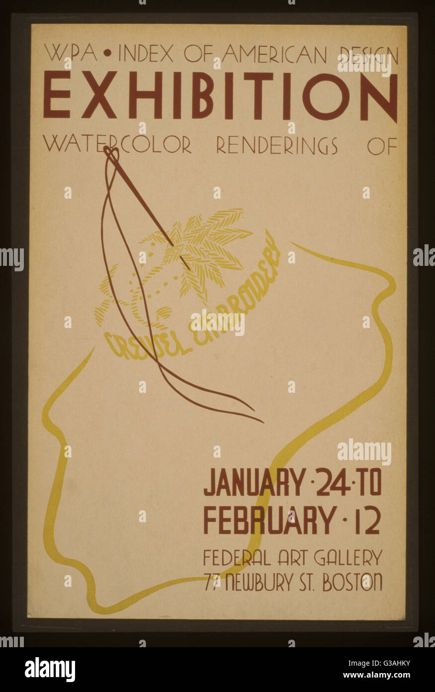 WPA Indice di American mostra di disegno acquerello renderings di ricamo crewel. Poster annunciando mostra di ricami Immagini Stock