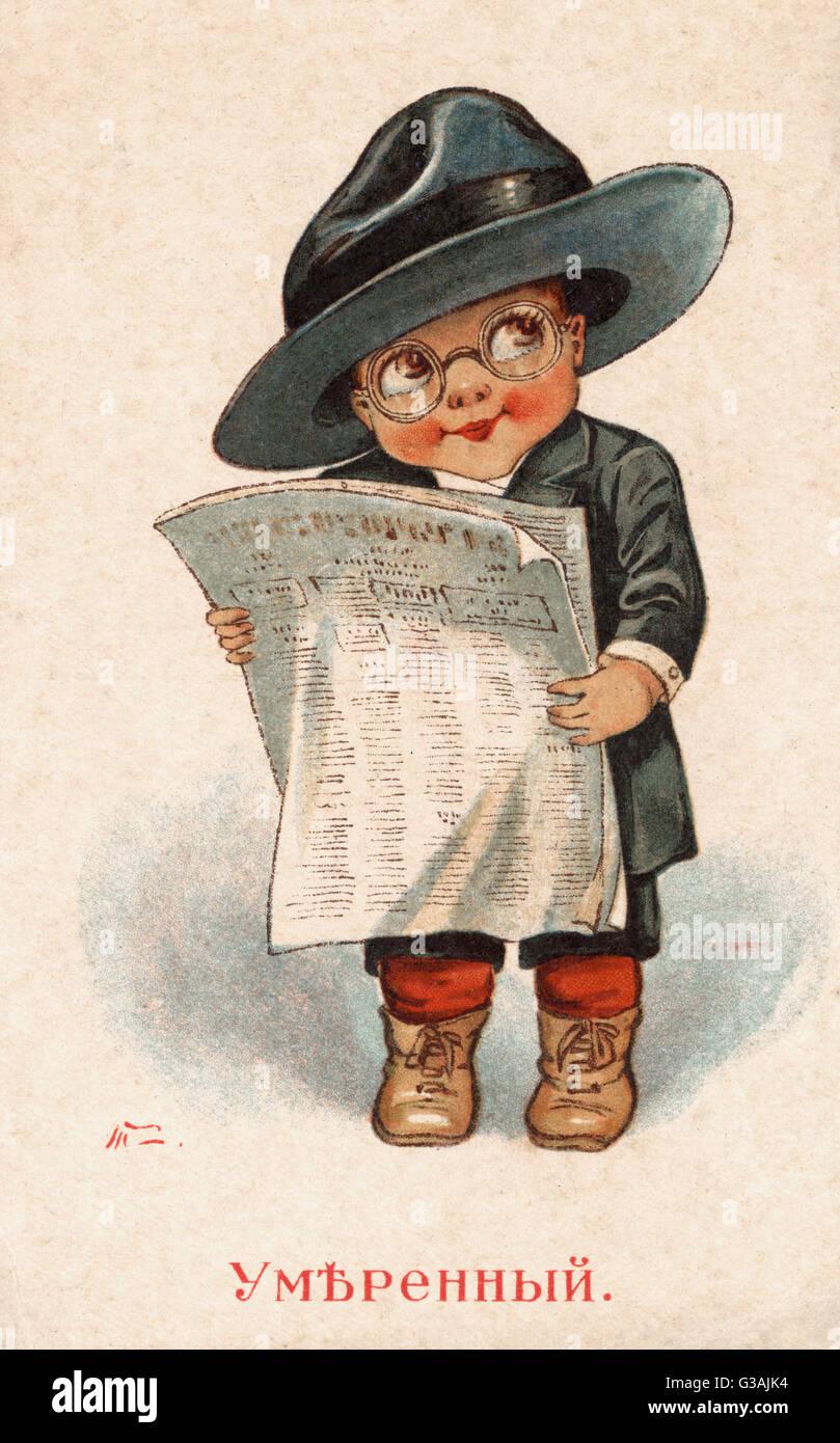 'Moderati? cartolina russo raffigurante un bambino nella veste di un russo moderata, leggendo un giornale. Data: Immagini Stock