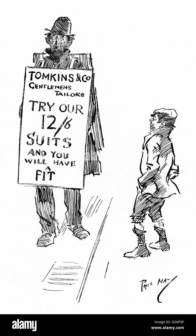 Visual ironia di un molto trasandato scheda sandwich uomo pubblicità un gentleman Sarto e la sua smart tute, Immagini Stock