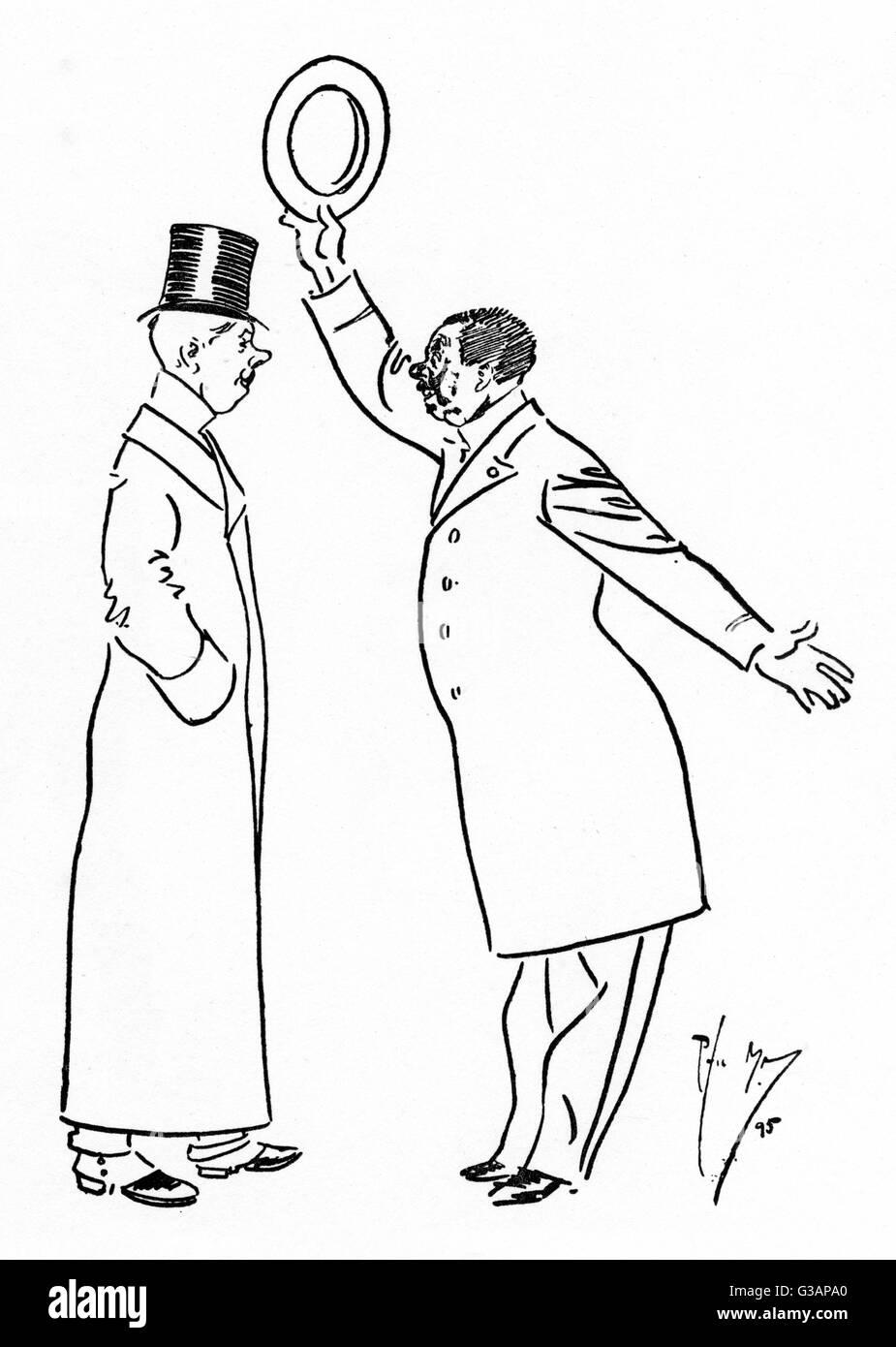 """""""Voi Engleeshe non si lotta ze duello. Iva d si ven ti insulto aria?"""" """"Oh, noi scrivere per il giornale"""". Immagini Stock"""